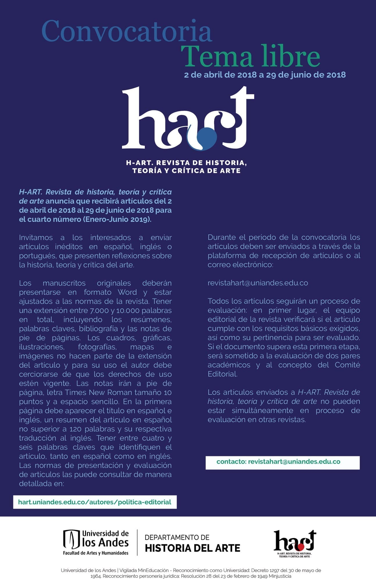 Convocatoria cuarto número HArt: tema libre