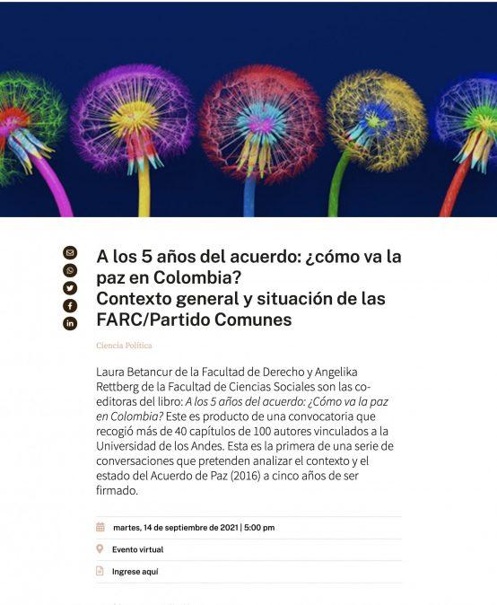 """""""A los 5 años del acuerdo: ¿cómo va la paz en Colombia? Contexto general y situación de las FARC/Partido Comunes"""""""